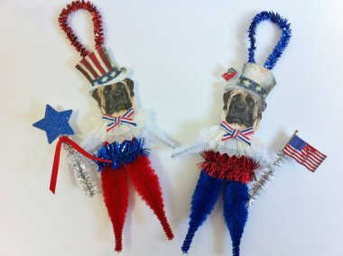 I realize these are technically ornaments, but WTF? English Mastiffs as American patriotic symbols? Why? What did English Mastiffs ever do to you? By StanleyAndStewart