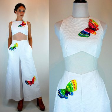 This vintage embroidered cotton jumpsuit is so fresh and beautiful, you could get married in it! By BluegrassVoodoo