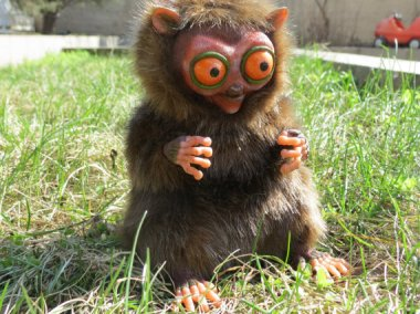 Do you have a fearful child in need of tougheing up? Is your little one a bed wetter? Would you like him to be? Why not get him this lemur doll by Sukhanov