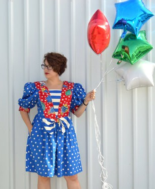 Clown-like vintage culottes sold by YellowWoodVintage