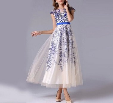 Absolutely stunning cobalt coral-embroidered gown. By MudanFloral