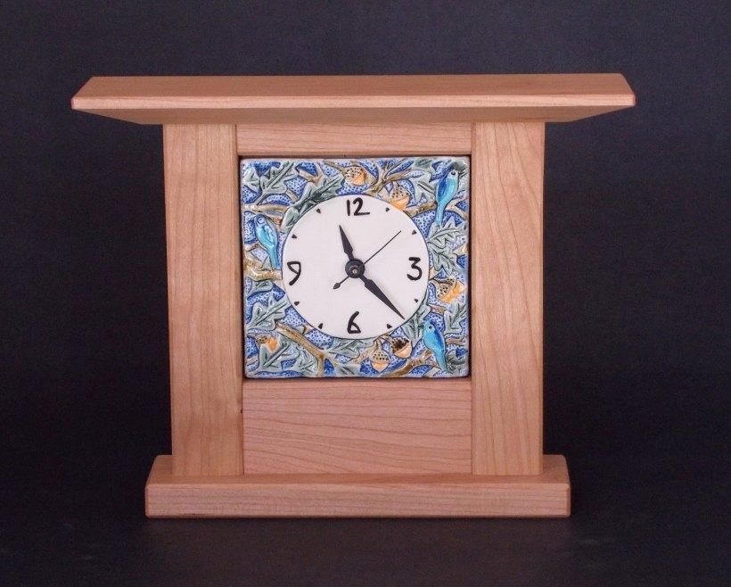 Mission-Style Oak Bird Tile Clock