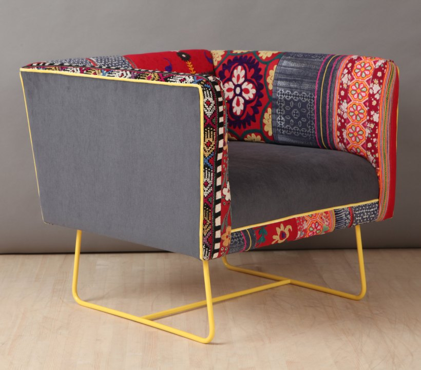 Suzani box armchair - yellow claw