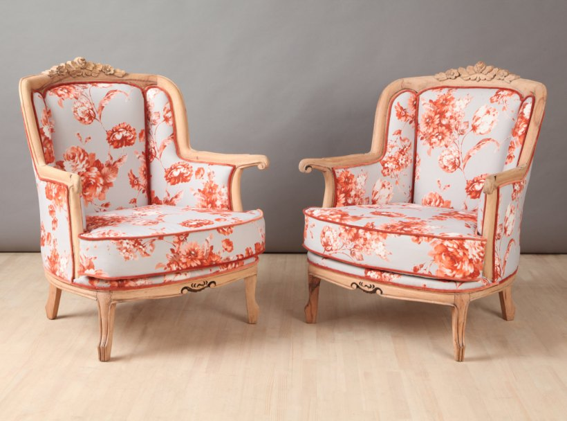 2 x vintage armchairs - orange rose