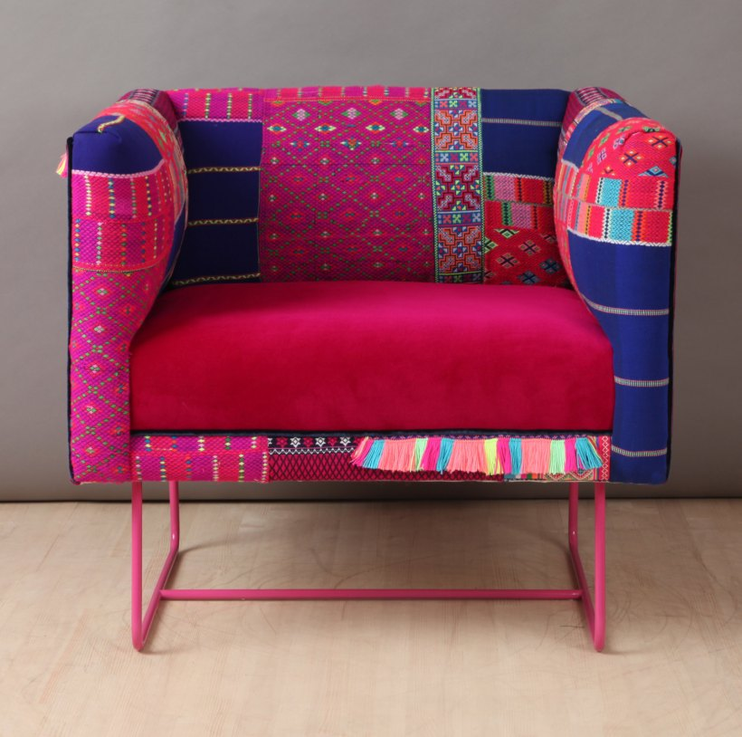 Suzani box armchair - pink claw