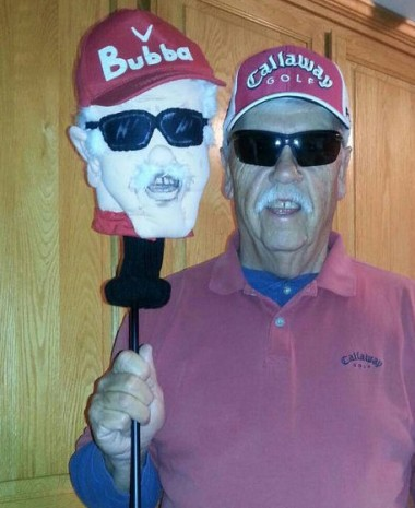 Have your very own head on a stick! Custom golf club cover by Puppetsinabag