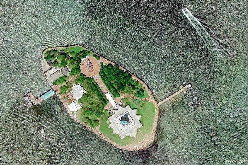 Liberty Island, New York City (via Google Earth View)