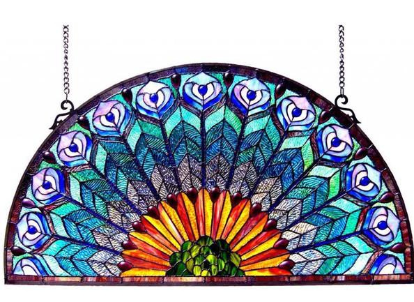 Peacock Half-Round Panel