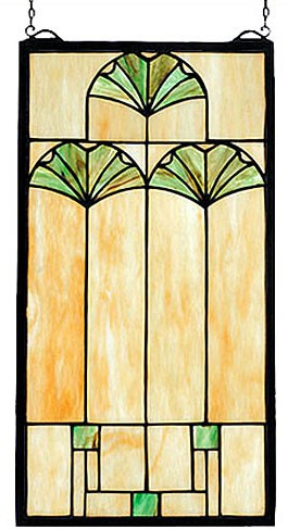 Ginko Leaf Stained Glass Panel Frank Lloyd Wright Reproduction by MaclinStudio.com