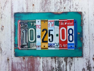 Let's start with something awesome. I would love to have this piece of art made from old license plates. By recycledartco