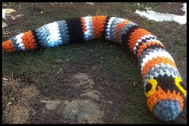 And now for the traditional back-to-school knitted snake... wait. What? By LadyLorienDesigns