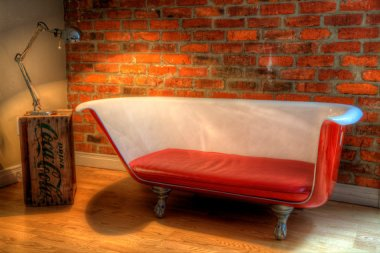 In the entire history of bathroom-themed furniture, this is hands down the very best bathtub sofa. By FabienCustomWork