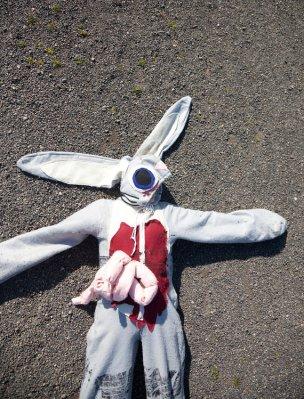 Roadkill rabbit costume. By missnessamonster