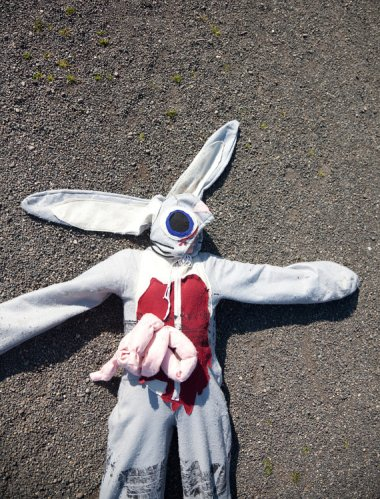Roadkill rabbit costume. By missnessamonster