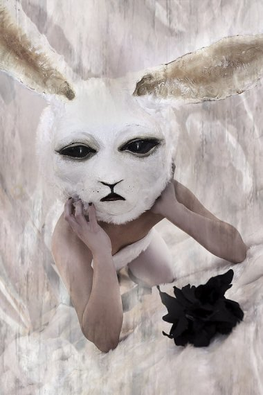 Profoundly weird but strangely beautiful rabbit mask that I suspect will appear in my dreams tonight (and not in a good way). $688.58 by BlackHatandDeathMask