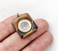 Rare Tiger Eye Compass Pendant / 1920s British Compass Fob