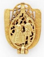 1930s German Brass Rococo Compass Locket