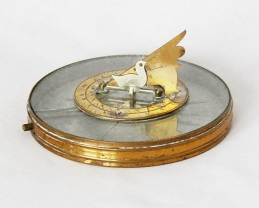 1910s French Desk Compass Sundial with Foldable Butterfield-type Gnomon