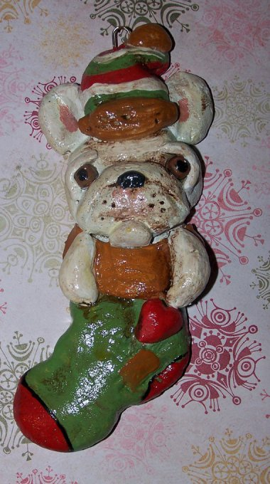 In case it's not clear, this is a Folk Art French Bulldog Ooak Christmas Ornament. By DollThreadsandClay