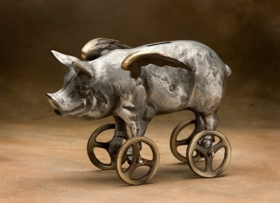 Magnificent flying pig coin bank by Nelles