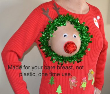 """This will either help or hurt your career, but I promise the day after the holiday party, SOMETHING will happen. """"NOT PLASTIC, NOT intened for breastfeeding"""" sweater by YourSassyGrandma"""