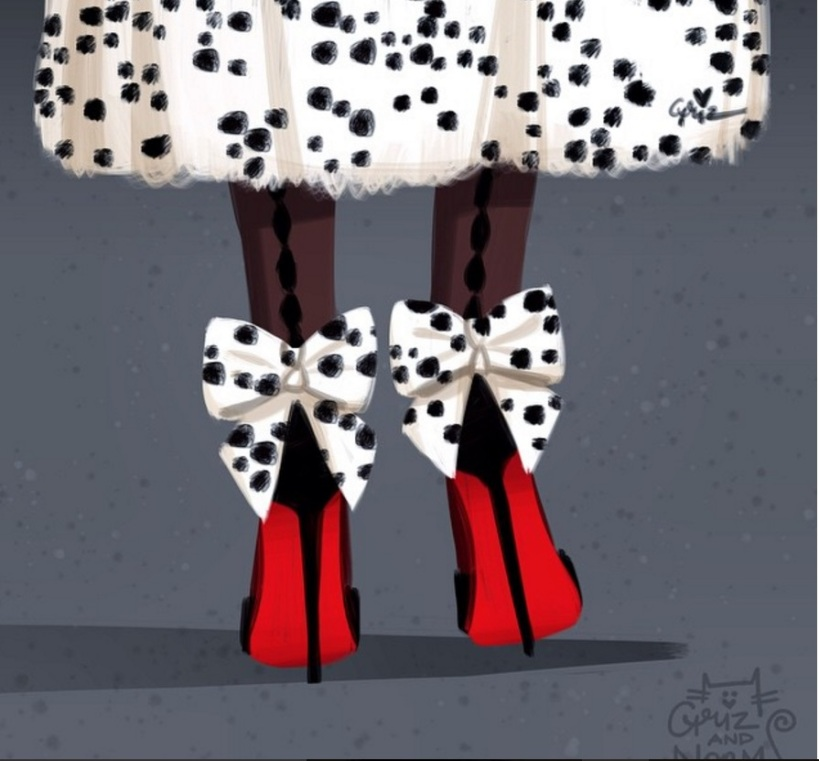 Cruella de Ville in Louboutin Dos Noeud shoes