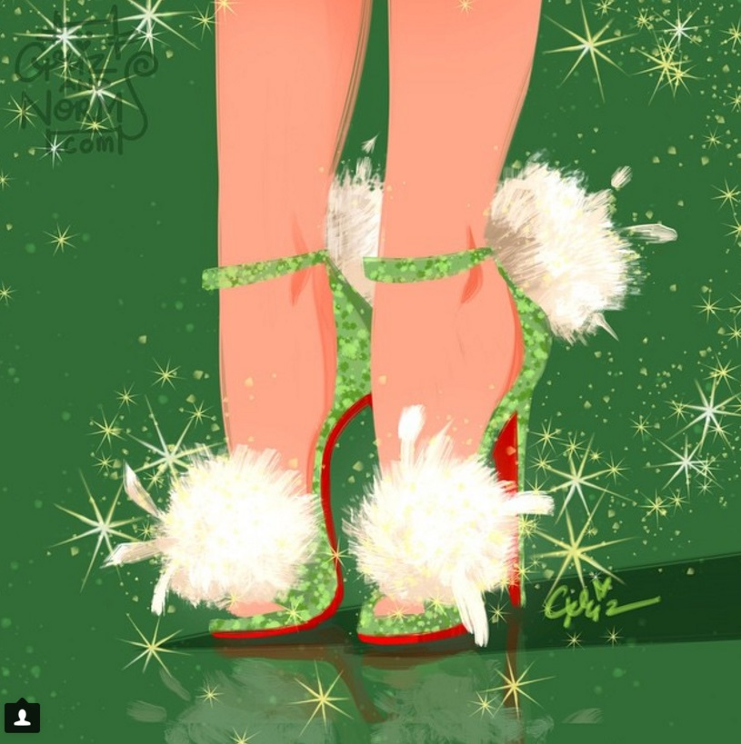 Tinkerbell in Christian Louboutin's Pluminette Pom Pom Sandals (I always knew Tinkerbell would have fierce shoes!)