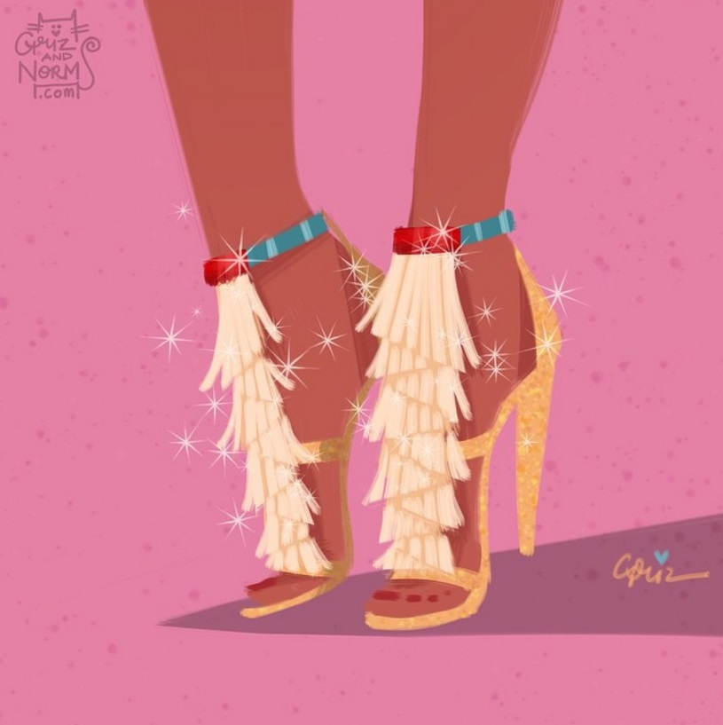 Pocahontas in Custom Chloé 'Daniella' Fringed Suede Sandals