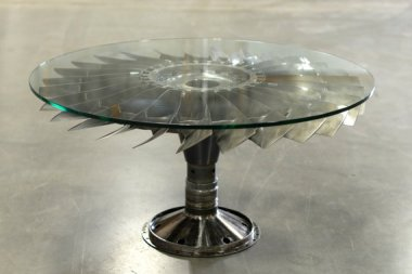 This remarkable table is made from reclaimed Boeing 727 parts! By AeroArtShop