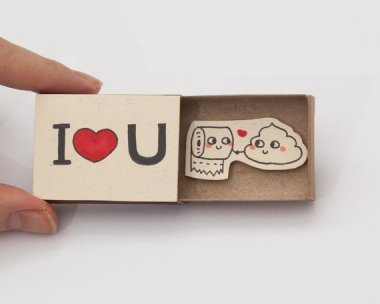 Oh, look! Another cute matchbook card! Wait, if that's toilet paper, then that other thing is . . . By shop3xu