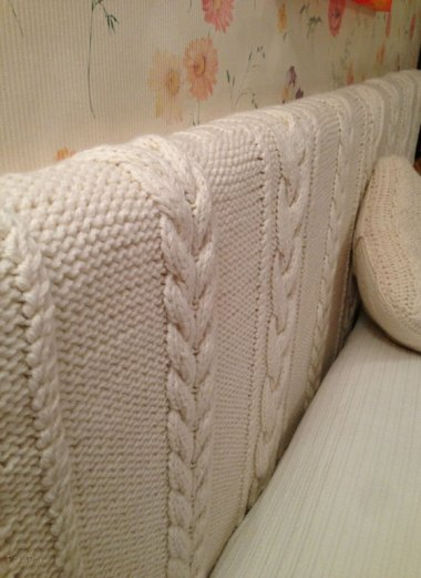 Hand-knitted headboard, or, as I like to call it, dust mite farm. By SoftCozyAndWarm