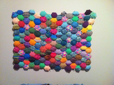 Another knitted headboard. The good news is that, according to the description, it cannot be duplicated. So that's comforting. By LeosLovelyTreasures