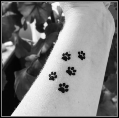 "What better way to say ""Thanks for dog sitting"" than paw print temporary tattoos? By SharonHArtDesigns"
