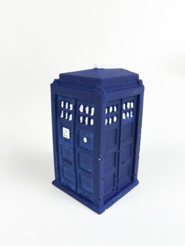 "2"" high cement Tardis. Yep. I need it. By RichNeeleyDesigns who also made those adorable succulent planters down below"