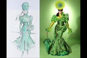 The costumes and the original sketches: the Lettuce Patch worn by Liz Styles.