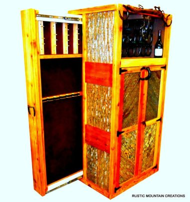Combo wine rack & gun cabinet. What? No humidor? By RUSTICMOUNTAINCREATI