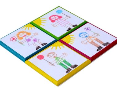 I guess I can see why you'd want your own kids' drawings on your coasters, but random kid drawings? By StudioDhomeDecor