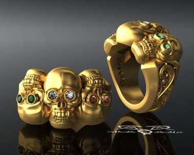 This gorgeous solid gold triple skull ring makes me want to be a pirate! By DeMerJewelry about whom I have waxed poetic before