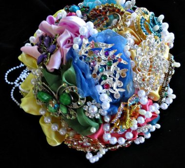 Can you imagine the damage you could do throwing this vintage jewelry and duct tape wedding bouquet?