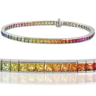 I'm forever drooling over these rainbow sapphire bracelets, and the princess cuts make this one nearly irresistable. By RainbowSapphire