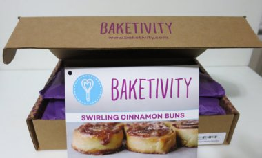 What a great idea! This is a cinnamon bun baking kit by Baketivity, complete with pre-measured ingredients and activities. By Baketivity
