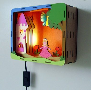 This is so cute! D.I.Y. nursery/children's room lamp. They offer three themes: princess, bunny, and dinosaur. By Bouwlampie