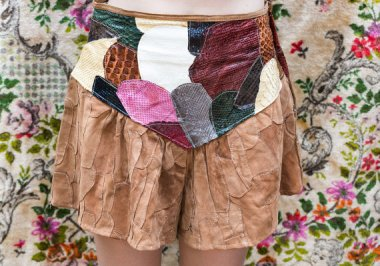 The materials listed for these shorts are leather and exotic. So there you go.