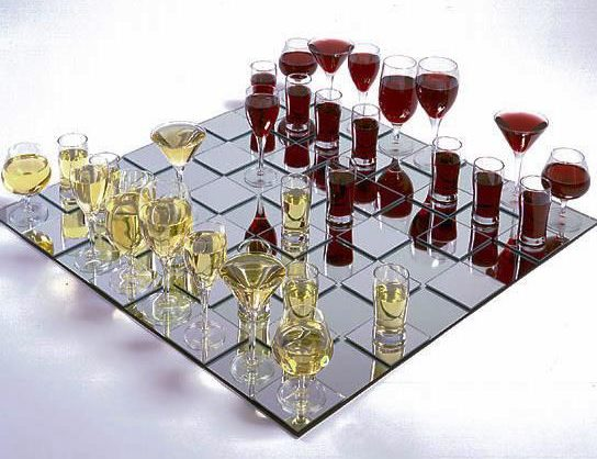 Wine Glass Chess Set