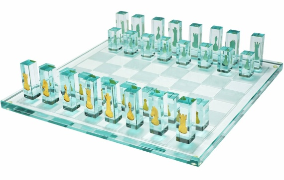 24K Gold and Glass Chess Set
