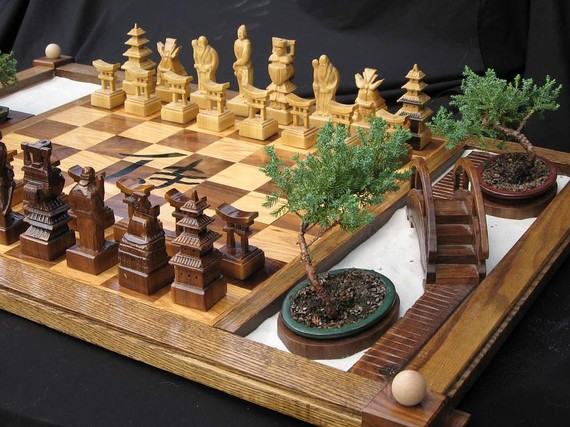 Samurai Chess Set with Zen Garden