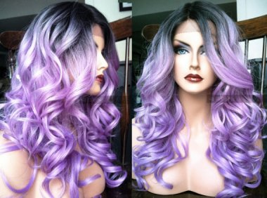 Let's start with a great one! Gorgeous grey-into-lavender ombre by WantableWigs