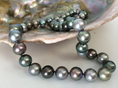 Natural Tahitian Pearl Necklace With Diamond Clasp by GemGlobe