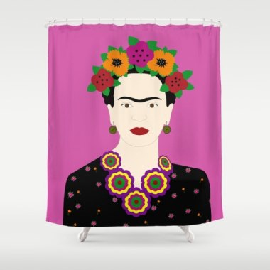 This would be a great shower curtain for someone who forgets to tweeze. By TheRedUmbrellaShop