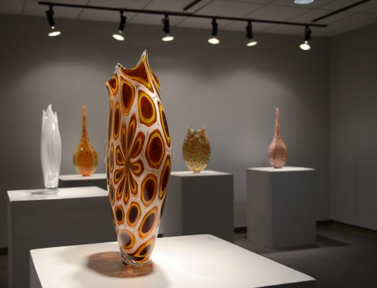 Photo by Jacob Moore Glass sculptures made by artist David Patchen rest in the Art Department gallery.